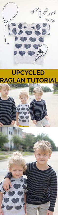Upcycled Recess Raglan Tutorial. Best recycle, repurpose, sweater to child's raglan shirt.