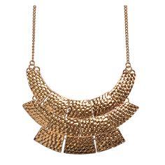 Fashion Golden Color Necklace Flat Bib Necklace Statement Necklace – Jane Stone