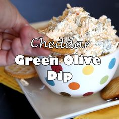Cheddar Green Olive Dip A creamy cheesy salty green olive dip that is great warm or cold. Cheddar Green Olive Dip A creamy cheesy salty green olive dip that is great warm or cold. Appetizer Dips, Yummy Appetizers, Appetizers For Party, Appetizer Recipes, Antipasto, Green Olive Dip, Green Olive Spread Recipe, Fingerfood Party, Tasty