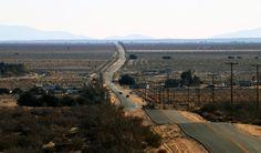 Desert road into the desert landscape
