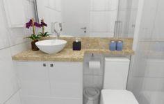 bancada para banheiro pequeno em marmore claro