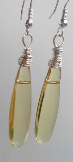 Light Jonquil Glass Pendants Earrings Yellow by DonnaJJewelry