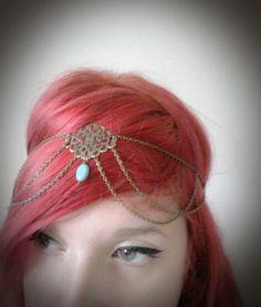 Chain Headpiece Boho Head Jewlry Bohemian Headband Boho Jewelry Boho Chic Bohemian Floral Center Turquoise Head Jewelry Gypsy Headpeice. £12.75, via Etsy. HAWT