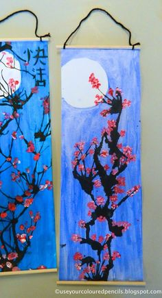 asian art for kids * asian art ; asian art for kids Chinese New Year Activities, Chinese New Year Crafts For Kids, Chinese New Year Decorations, Chinese Scroll, Chinese Crafts, New Year Art, Cherry Blossom Art, Japan Crafts, New Year's Crafts