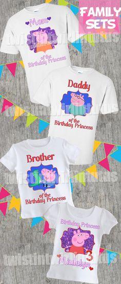 Peppa Pig Family Shirt Set | Peppa Pig Birthday Ideas | Birthday Party Ideas for Girls | Birthday Ideas for Boys | Twistin Twirlin Tutus #peppapigbirthday