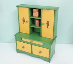 Doris's 1930s Toy Step-Back Cupboard with 3 Cabinet Doors, 2 Drawers and Charming Girl and Tea Kettle Decals - Plus Bonus Miniatures!