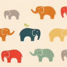 bunter Elefanten Tier Bio-Stoff von birch aus den USA