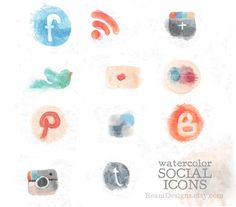 Hand Drawn Watercolor Social Icons Clipart for Blog and Web - Twitter, Blogger, Google Plus, Pinterest, Instagram, RSS, Flickr, Facebook. $8.00, via Etsy.
