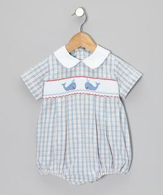 Take a look at this Light Blue Plaid Whale Bubble Bodysuit - Infant by Velani Classics on #zulily today!