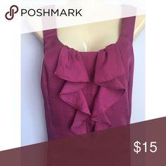 Ann Taylor Loft cascading ruffle shirt Size medium. 100% polyester. Sleeveless,lightweight Ann Taylor Loft Tops