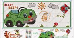 Πολλά σχέδια με αυτοκίνητα για κέντημα σταυροβελονιά   Lots of car cross stitch patterns     πηγή /  source               Delicado Canti...