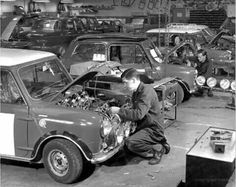 1967 ,one of the LBL fleet grp.2 1275cc vehicles fitted with 1.5 inch SU carbs and fibreglass wheel arches being prepared for work .