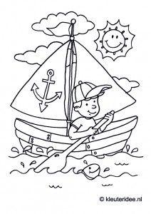 Zeilboot, kleurplaat voor kleuters, thema Zeeland, kleuteridee.nl, Sail, coloring page, free printable.