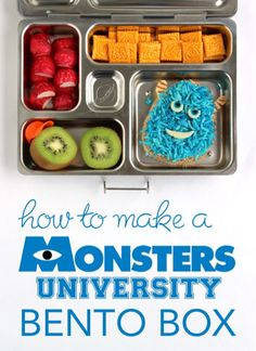 How to Make a Monsters University Bento Box by Wendolonia -- a step-by-step tutorial Bento Box Lunch, Box Lunches, School Lunches, Cute Food, Good Food, Disney Food, Disney Recipes, Snack Recipes, Snacks