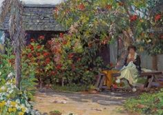 woman sewing and sitting in her garden.  Close up view of painting by Joseph Kleitsch