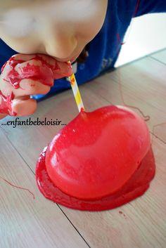 Faire de la pâte Slime recette - pâte à prout - pâte à ballons Simple Comme Bonjour, Ballons, Favors, Cake, Diy, Desserts, Puffy Paint, Food, Animation