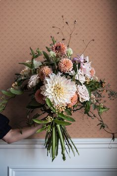 Here are a few of the very best strategies on how to get cheap wedding flowers while not breaking the bank. Bunch Of Flowers, Fall Flowers, Beautiful Flowers, Spring Wedding Flowers, Beautiful Flower Arrangements, Floral Arrangements, Dahlia Bouquet, Dahlia Wedding Bouquets, Bouquet Champetre