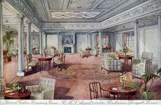 RMS mauretania interiors | Bridge House (WH Smith) photographic postcard S20226 of Aquitania ...