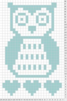 Owl knit chart- I can foresee me wanting this one day. Crochet Cowl Free Pattern, Easy Crochet Patterns, Filet Crochet, Owl Baby Blankets, Owl Blanket, Owl Patterns, Bead Loom Patterns, C2c, Crochet Simple