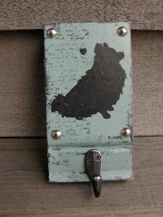 Vintage Look Pomeranian dog leash holder // blue and black // Dog Leash Hook, Dog Leash Hanger