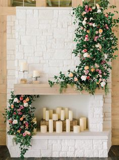 Locale Bloom - Hidden Pines Chapel with Fox and the Fleur | Photography: Jeff Brummett Visuals | Florals + Styling: Fox and the Fleur | Venue: Hidden Pines Chapel #bridesofok #wedding #decor #fireplace