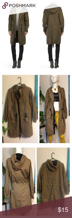 """Love Tree Hooded Long Anorak Jacket Army Green Product Description: * drawstring hood, waist, and hem, multiple pockets, banded cuffs * hits at knee * lightweight * hooded, zip front and snnap button closure * model's height is 5ft. 10in., wearing size s * cotton/polyester * imported * machine wash    Approx Measurements laid flat- (double where necessary)  Shoulder to shoulder: 21"""" Underarm to underarm: 22.5"""" Waist: 21"""" Hips: 23"""" Shoulder to Hem: 39"""" Sleeve: 23.5"""" love tree Jackets & Coats…"""