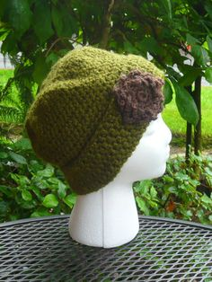 Adult crochet hat Green with Flower Accent by FuzzySoulArtifacts