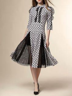 Plaid Mesh Paneled Midi Dress