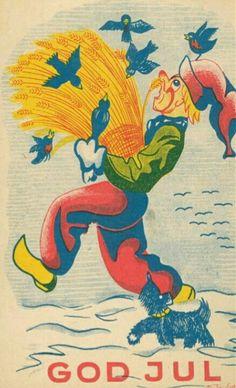 Julekort Ole Sigholdt nissekort sign. Sigholdt -1942. Utg H & Larsen AS