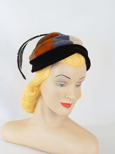 Vintage 1960s Hat Multi Colored Velvet Feathered Pixie by Marilyn by alleycatsvintage on Etsy