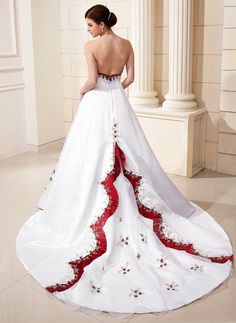 Ball-Gown Sweetheart Cathedral Train Embroidered Beading Sequins Zipper Up Strapless Sleeveless Church General Plus No Winter White Satin Wedding Dress