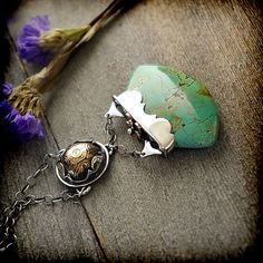Turquoise Copper & Sterling Silver Necklace by EraArtJewelry Jewelry Art, Jewelry Necklaces, Jewelry Design, Fashion Jewelry, Turquoise Pendant, Turquoise Jewelry, Sterling Silver Necklaces, Silver Jewelry, Handmade Jewelry