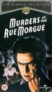 Cover for a DVD release of MURDERS IN THE RUE MORGUE (Robert Florey, 1932), loosely based on the story by Edgar Allan Poe of the same title. It is played by Sidney Fox, dark-haired beauty with innocent charm, and Leon Ames, playing the detective Pierre Dupin, but all scenes are stolen by a creepy and scary Bela Lugosi in his terrific interpretation of the evil Dr. Mirakle.