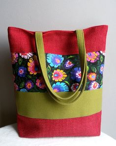 Large red shoulder bag folk style bag zipper by IrisBags on Etsy