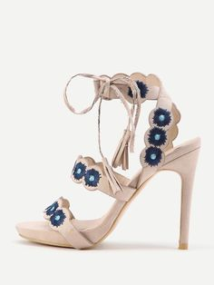 Shop Peep Toe Embroidery High Heeled Sandals With Tassel Tie online. SheIn offers Peep Toe Embroidery High Heeled Sandals With Tassel Tie & more to fit your fashionable needs.