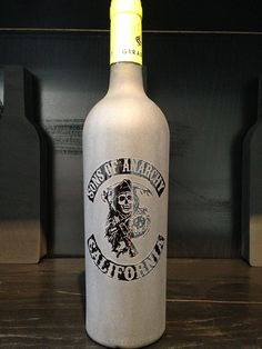 Frosted Sons of Anarchy California Wine bottle engraving for my friend $70