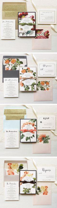 Floral Boho Wedding Invitations Handwritten Fonts by BeaconLane