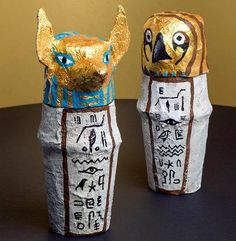 Help children further their understanding of the important rituals in Ancient Egypt with these amazing Egyptian Canopic Jars! Head over to our website for the full instructions! Ancient Egypt Activities, Ancient Egypt Crafts, Ancient Egypt For Kids, Egyptian Crafts, Egyptian Party, Ancient Aliens, Ancient Greece, Ancient Egypt Lessons, Egyptian Jewelry