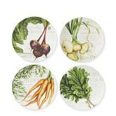 Seasonal veggies adorn farmers market dinnerware. Carrots, greens, beets and onions.