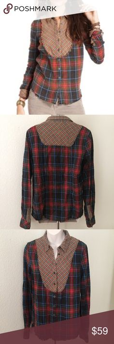 "Free People ""We the Free"" multi-Plaid Flannel Top This is a Free People Plaid Flannel shirt. It's a multi-Plaid fabric Button Down. Size small. 100% cotton. Thick Flannel fabric. Bust 38"" length 28"". Frayed edges. Free People Tops Button Down Shirts"