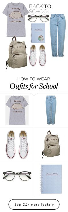 """school style"" by maja2025 on Polyvore featuring Pusheen, ZeroUV, Converse and Topshop"