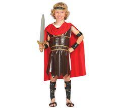 Disfraz de Guerrero Romano o Centurión para niños de 4 a 6 años. Incluye cinta de la cabeza, túnica, vestido, capa, brazaletes, mangas y espinilleras.