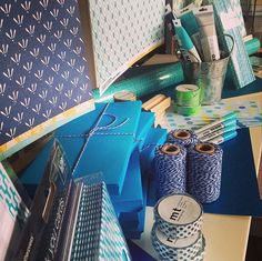 Blue twine, blue patterned paper, blue washi tape, blue envelopes, blue invites... We've gone blue all over with this window display! www.thepaperempire.com.au