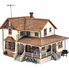 Woodland Scenics Landmark Structures Built & Ready Corner Porch House, HO Scale buildings and structures Ho Scale Buildings, Modern Buildings, Clapboard Siding, Casas The Sims 4, 3d Home, Two Story Homes, Sims House, Miniature Houses, Kit Homes