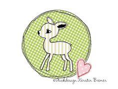 Reh Doodle Stickmuster für eine Stickmaschine. Deer Doodle Appliqué embroidery for embroidery machines.