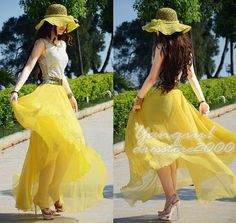 Chiffon Maxi Skirt-Spring Long Skirt Maxi Dress Women Silk Skirt Summer Beach Skirt In Bright Yellow -WH103 ,105cm via Etsy