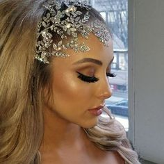 Stunning asymmetrical crystal headpiece for the dramatic bride! Custom crystal headpiece and jewelry by Bridal Styles Boutique, hair by Senada K., makeup by Glamour by Drita, gown by NYC Fashion Boutique . Maquillage On Fleek, Headpiece Jewelry, Best Wedding Hairstyles, Wedding Hair Accessories, Bridal Headpieces, Bridal Makeup, Bridal Style, Hair Beauty, Glamour