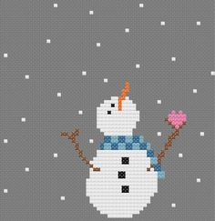 I squeal every time I look at this little snowmans sweet face! This Christmas cross stitch pattern will warm your heart and delight you during