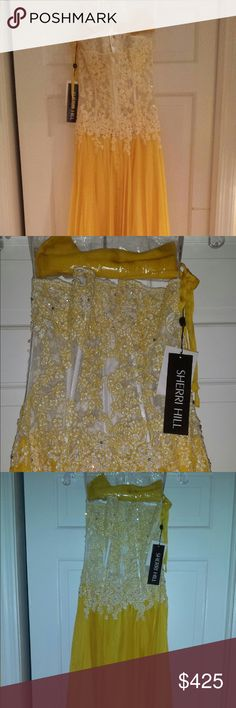 Sherri Hill yellow strapless illusion top gown Sherri Hill style # 1003- white and yellow gown- never been worn with new tags. Sherri Hill Dresses Prom