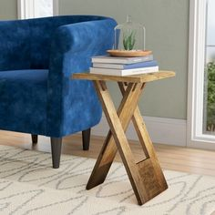 Orren Ellis Boysen Folding End Table Colour: Natural Small Accent Tables, Small End Tables, End Tables With Storage, Glass Rack, Wooden Tops, Wood Slab, Nesting Tables, How To Distress Wood, Living Room Chairs